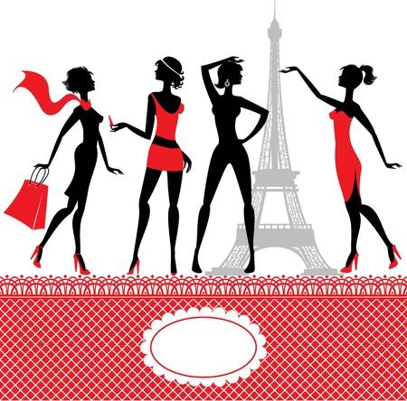 femme noire nue: Ensemble de silhouettes de filles � la mode sur un fond blanc Illustration
