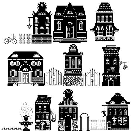 maison de maitre: Ensemble de maisons Dessins Anim�s conte de f�es dessin isol� sur fond lodge S�rie blanche s�par�e Illustration