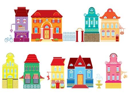 separato: Set di vignette fiaba case di disegno isolato su sfondo bianco Serie lodge separato