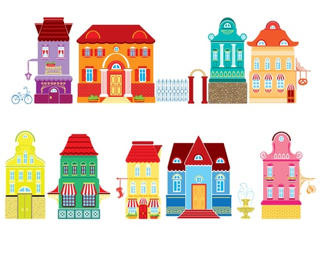 Set of Cartoons fairy tale drawing houses isolated on white background  Series separate lodge  Vector