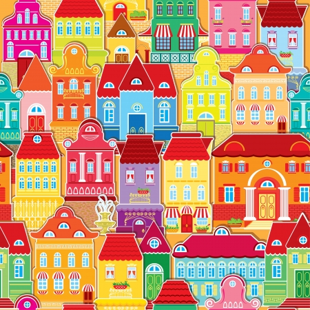 Seamless pattern with decorative colorful houses   City endless background  Vectores