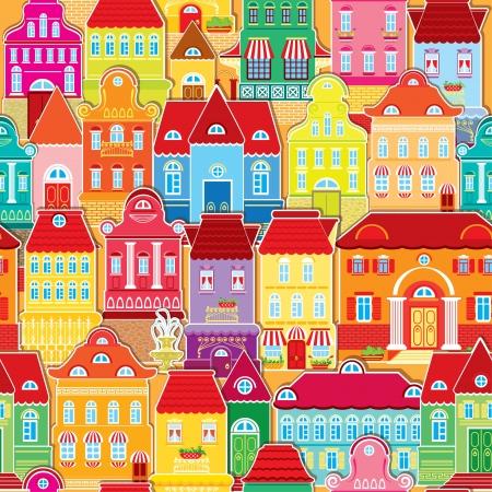 Seamless pattern with decorative colorful houses   City endless background  Illusztráció
