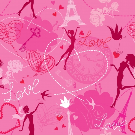 Seamless pattern in pink colors - Silhouettes of fashionable girls, hearts and birds  Love dreams in Paris  Vector