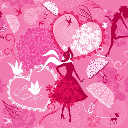 Seamless pattern in pink colors - Silhouettes of fashionable girls, hearts and birds   Vector