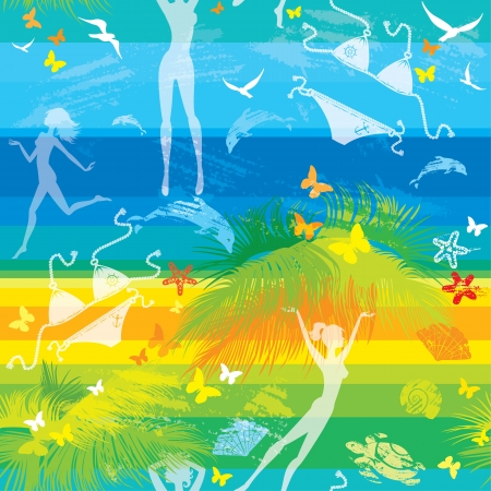 sea star: seamless summer beach pattern with people, palms, dolphins and butterflies on striped background