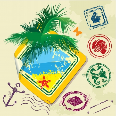 Summer and travel stamps and sticker -  hand drawn collection Vector