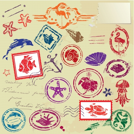 vintage postcard: Sea and tropical elements - rubber stamps collection