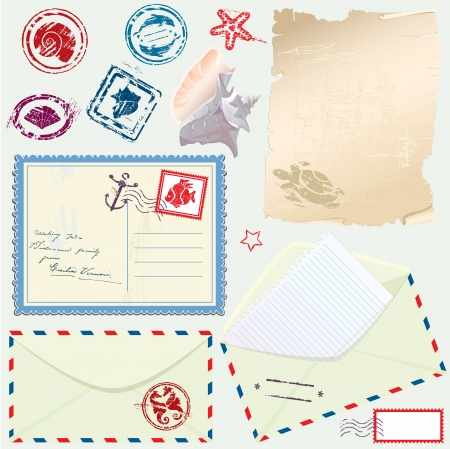 Postcard, envelope and paper with Retro nautical Stamps - for design and scrapbook Vector