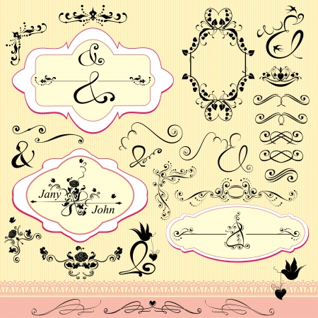 Vintage ornaments and frames, calligraphic design elements and page decoration, signs AND for wedding invitation Vector