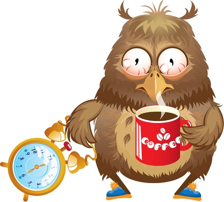 sleepy: Early morning time - funny owl with cup of coffee and alarm clock in its hands