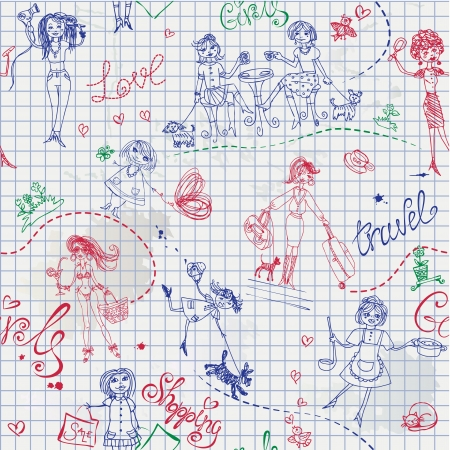 amazing wallpaper: Childish style hand drawn seamless pattern with girls