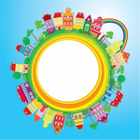 Abstract round banner with small fairy colorful town on light blue sky background