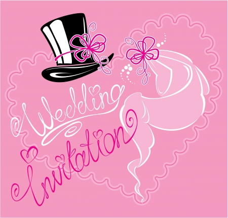 wedding invitation card with wedding veil and groom hat Stock Vector - 19145779