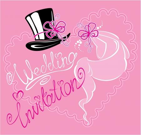 ribbin: wedding invitation card with wedding veil and groom hat