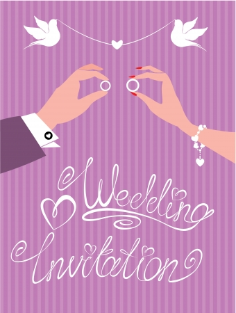 wedding invitation -  groom and bride hands with wedding rings Illustration