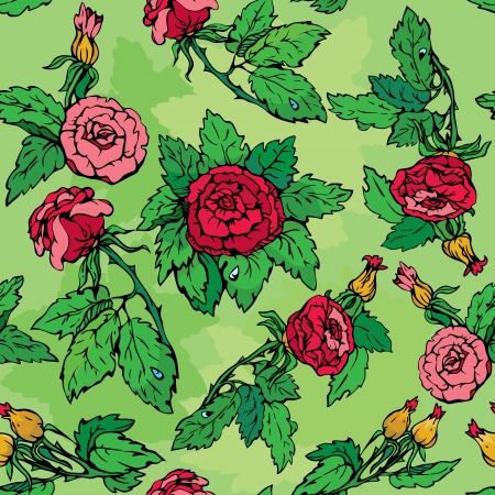 Hand drawn Roses flowers -ornate seamless pattern Vector