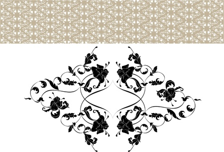 enlarged: Vintage ornate seamless pattern in rococo style and separate element in the enlarged view Illustration