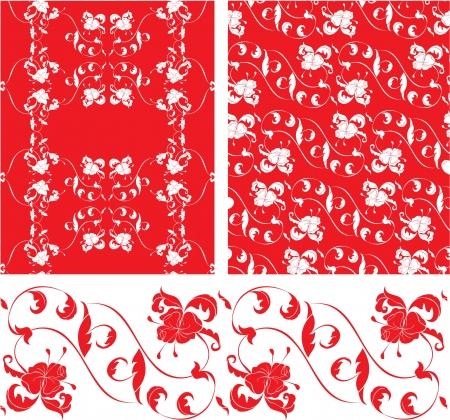 rococo style: Conjunto de patrones sin fisuras ornamentada Vintage en estilo rococ�
