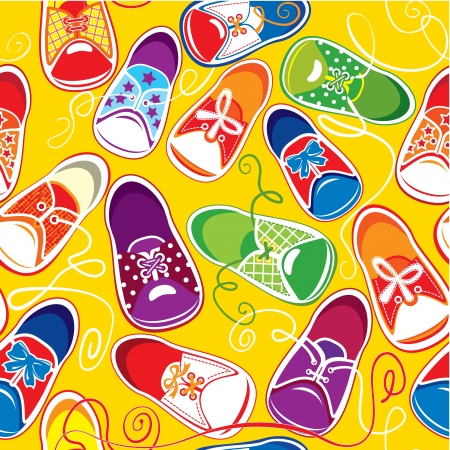 shoe print: seamless pattern - colored children  gumshoes on yellow background Illustration