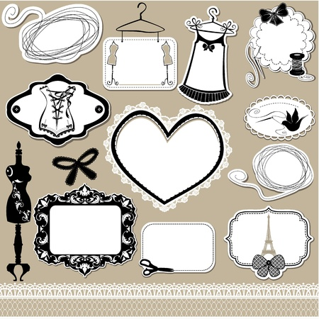 Set of frames, symbols, tools and accessories for sewing studio  Vector