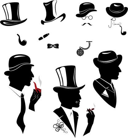 pijp roken: Mannen silhouetten rokende sigaar en pijp in vintage stijl op een witte achtergrond