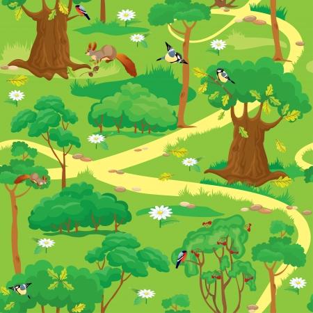 Nahtlose Muster - Green Forest Landschaft mit Bäumen, Blumen, Vögel und Eichhörnchen