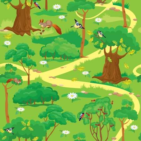 cartoon forest: Seamless pattern - Green Forest Landscape with trees, flowers, birds and squirrels Illustration