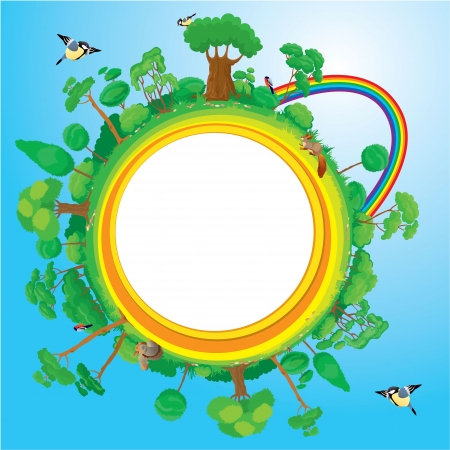 rainbow sphere: Globe with green trees, birds, animals, rainbow - eco concept