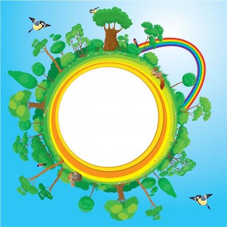 sun protection: Globe with green trees, birds, animals, rainbow - eco concept