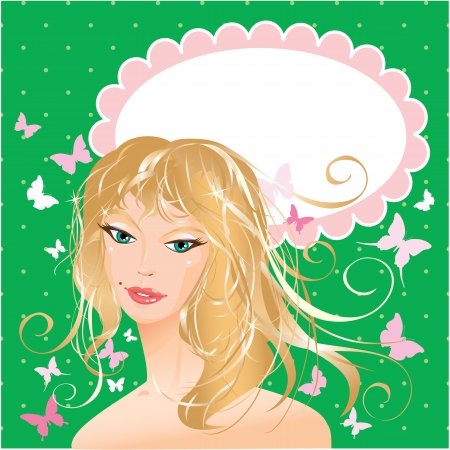 Blonde girl beautyful face - portrait on polka dot green background with butterflies and oval frame for your text Stock Vector - 19367421
