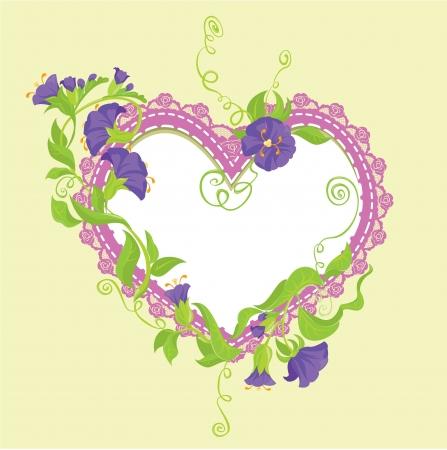 violeta: Convolvulus flores bouquet y coraz�n del cord�n - Dise�o de la invitaci�n de la boda o tarjeta del d�a de San Valent�n