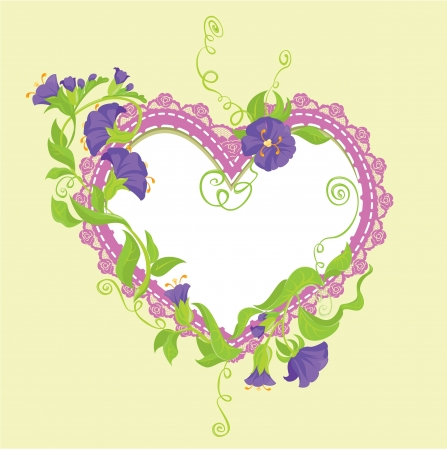 violet: Convolvulus Flowers bouquet and lace heart - design for wedding invitation or Valentines Day card