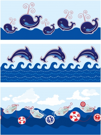Set of Seamless sea borders with dolphins, whales, paper ships and buttons Vector