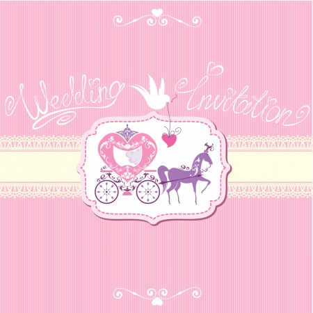 brougham: Vintage wedding invitation with retro horse carriage