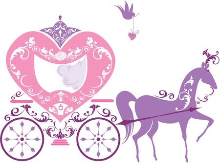 royal person: Carro del caballo de cuento de hadas Vintage aislado sobre fondo blanco Vectores