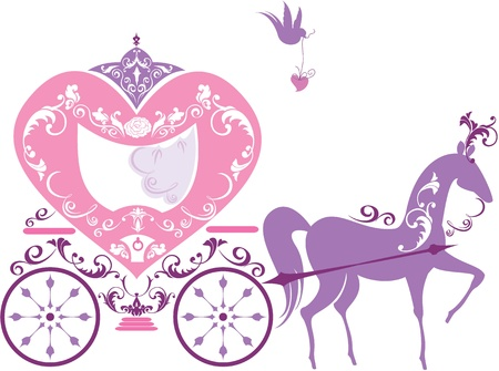 brougham: Vintage fairytale horse carriage isolated on white background