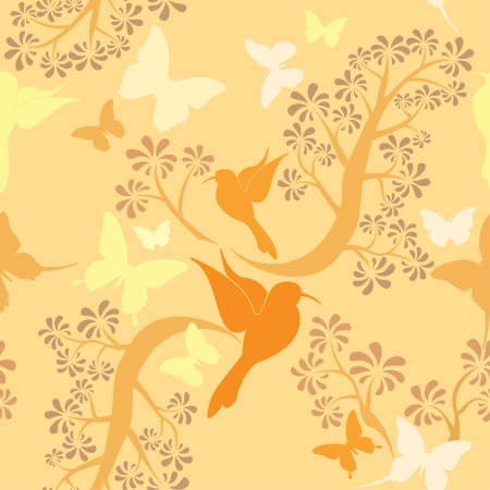 Light vanilla colors seamless pattern with hummingbirds, butterflies and trees Vector