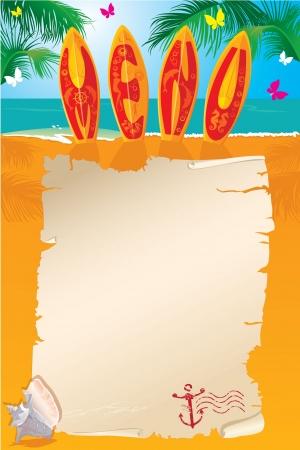 Menu design - planches de surf avec la main texte élaboré et parchemin