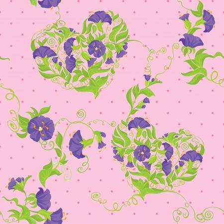 morning glory: Seamless pattern - Convolvulus Flowers hearts on polka dot pink baskground Illustration