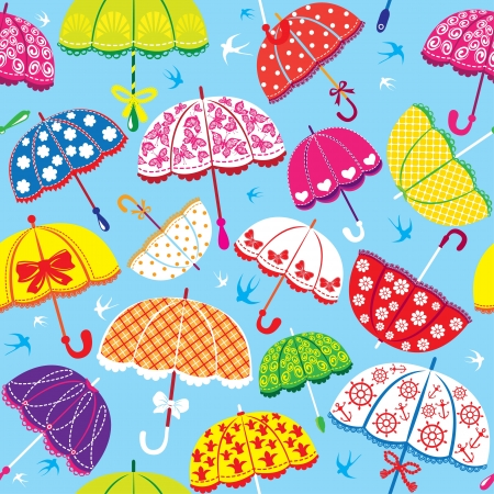 seamless pattern with colorful umbrellas on blue background Illustration