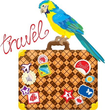 Travel concept - Suitcase with journey stickers and parrot isolated on white background Vector