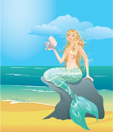 Illustration of a Beautiful mermaid girl with sea shell sitting on the stone Vector