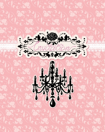 Wedding invitation card with luxury chandelier on  pink floral background Vector