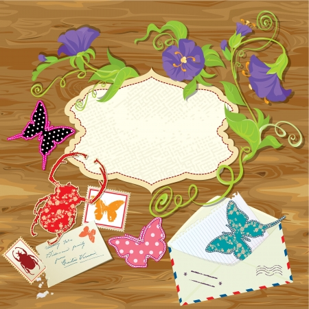 Wooden background with butterflies, beetle, flowers, mail stamps, envelope and empty frame for text. Vintage design Vector