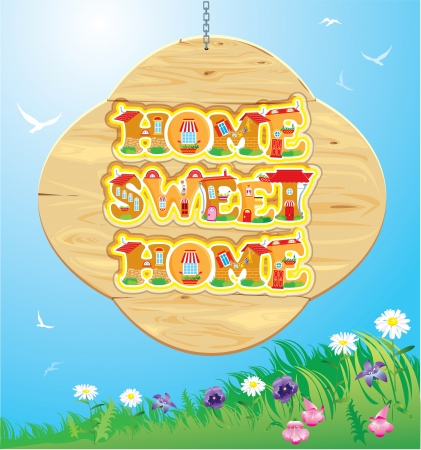 Wooden Frame with Home, sweet home Words on sky background. Stock Vector - 20300458