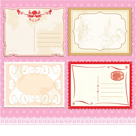Set of Postcards in vintage design on polka dots pink background. Vector