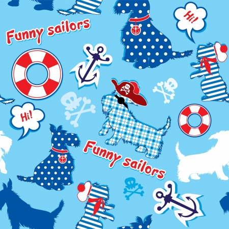scottish terrier: Seamless pattern with funny scottish terrier dogs  - sailors, anchor, lifebuoy, jolly Roger
