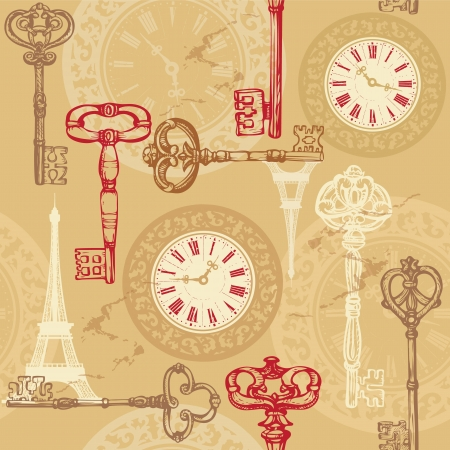 vintage clock: Vintage seamless pattern with clock, keys and Eiffel tower