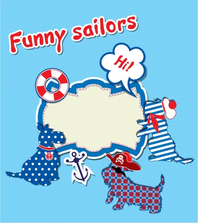 scottish terrier: Card with funny scottish terrier dogs  - sailors, anchor, lifebuoy and empty frame for text