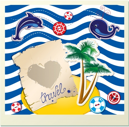 Funny Card with dolphin, whale, island with palms on stripe background Vector